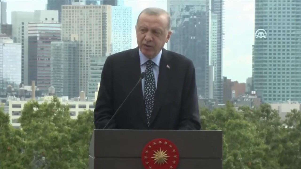 Erdoğan New York Türkevi binası açılışında konuşuyor